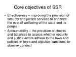 core objectives of ssr