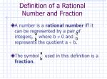 definition of a rational number and fraction