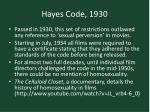 hayes code 1930