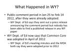 what happened in wy1