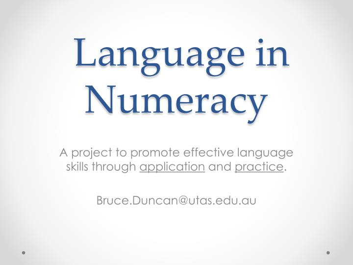 language in numeracy n.