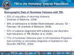 tbi in the homeless veteran population