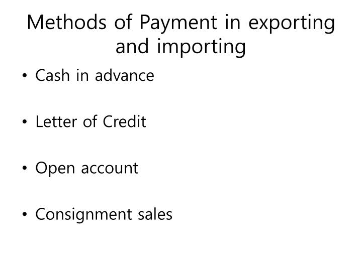 methods of payment in exporting and importing n.