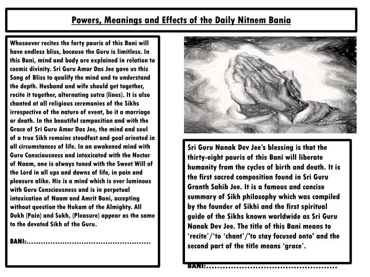 powers meanings and effects of the daily nitnem bania n.