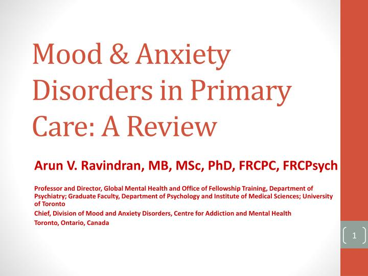 mood anxiety disorders in primary care a review n.
