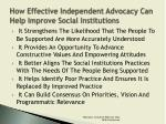 how effective independent advocacy can help improve social institutions