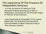 the importance of the presence of independent advocacy1