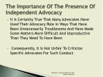 the importance of the presence of independent advocacy2