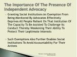 the importance of the presence of independent advocacy4