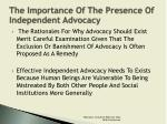 the importance of the presence of independent advocacy5