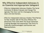 why effective independent advocacy is an essential and appropriate safeguard4