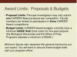 award limits proposals budgets