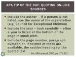 apa tip of the day quoting on line sources