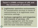 taylor s 1988 critique of lre and the continuum of services