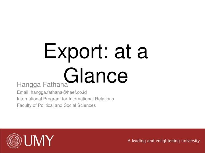 export at a glance n.