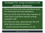 strategies for using annotation and variation databases