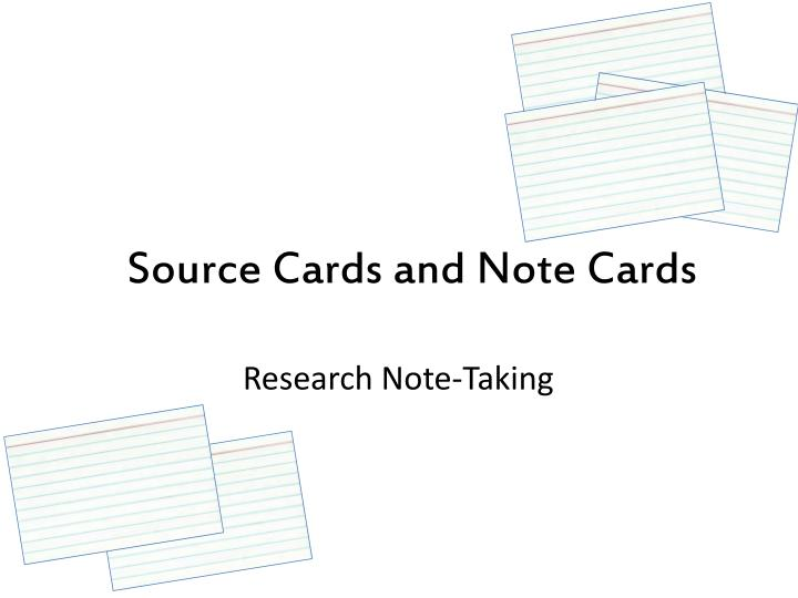 source cards and note cards n.