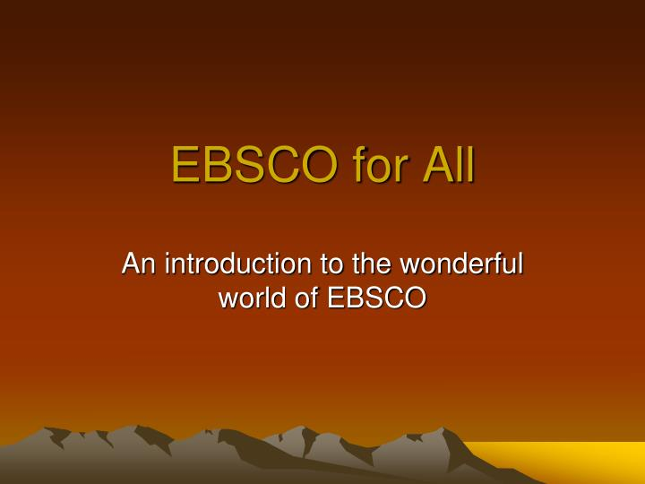 ebsco for all n.