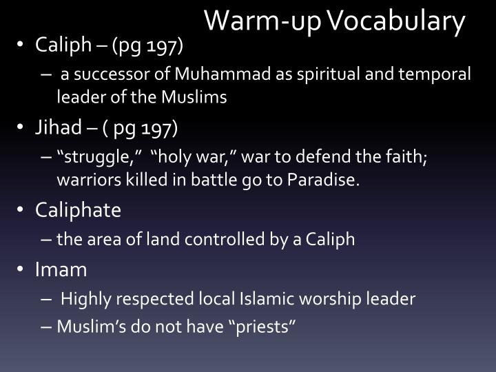 warm up vocabulary n.