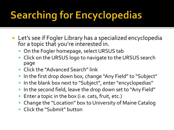 Searching for Encyclopedias