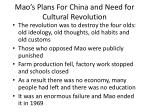mao s plans for china and need for cultural revolution