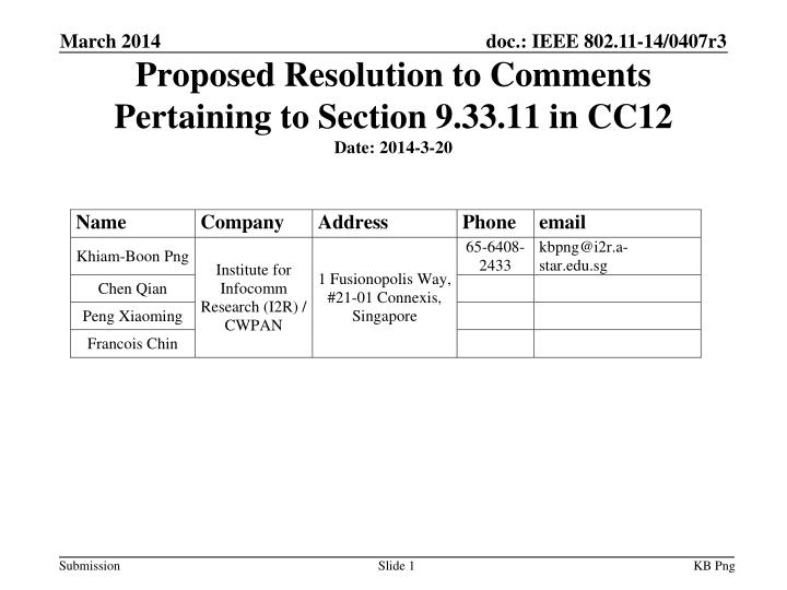 proposed resolution to comments pertaining to section 9 33 11 in cc12 date 20 14 3 20 n.