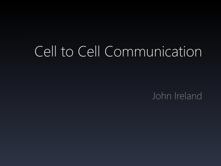 cell to cell communication n.