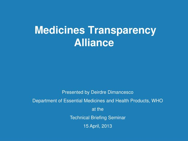 medicines transparency alliance n.
