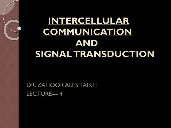 intercellular communication and signal transduction n.