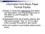 information form basic paper format packet1