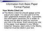 information from basic paper format packet