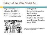 history of the usa patriot act