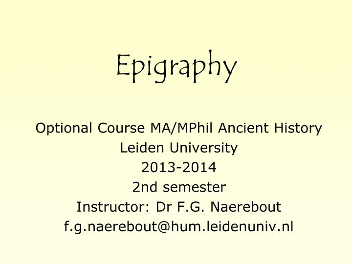 epigraphy n.