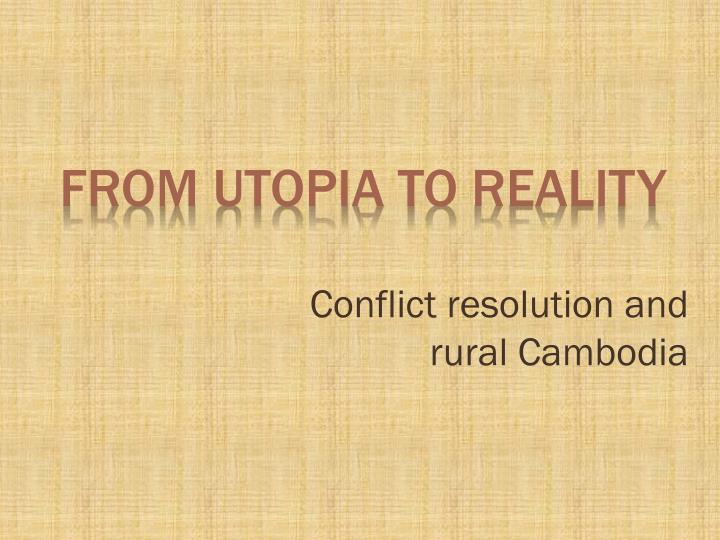 conflict resolution and rural cambodia n.