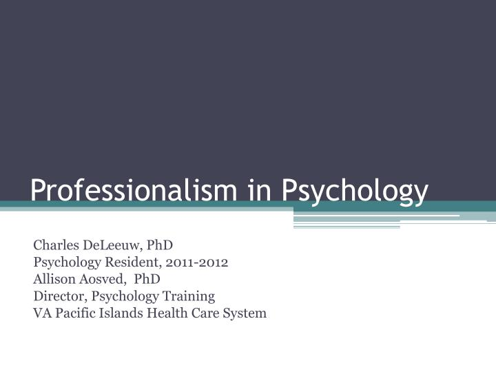 professionalism in psychology n.