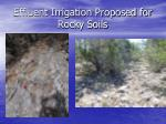 effluent irrigation proposed for rocky soils