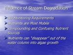 evidence of stream degradation