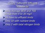 widely different effluent standards