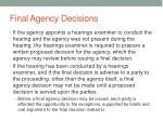 final agency decisions