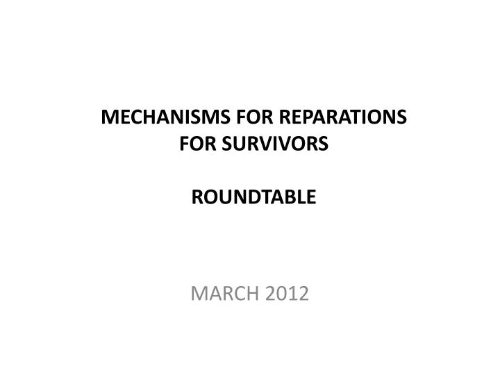 mechanisms for reparations for survivors roundtable n.