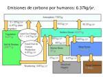 emisiones de carbono por humanos 6 3 tkg yr