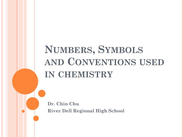 numbers symbols and conventions used in chemistry n.