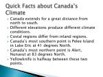 quick facts about canada s climate