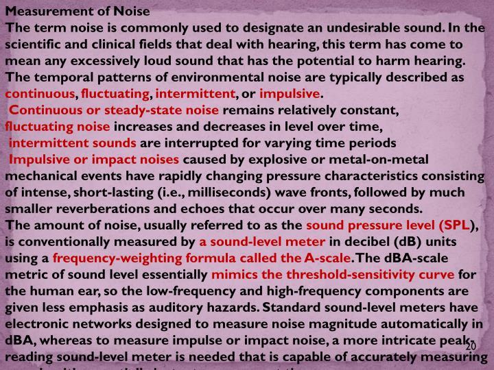 Measurement of Noise