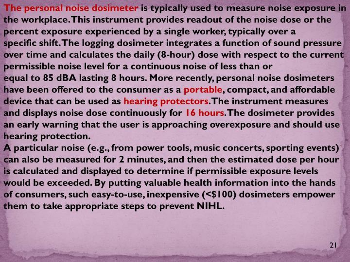 The personal noise dosimeter