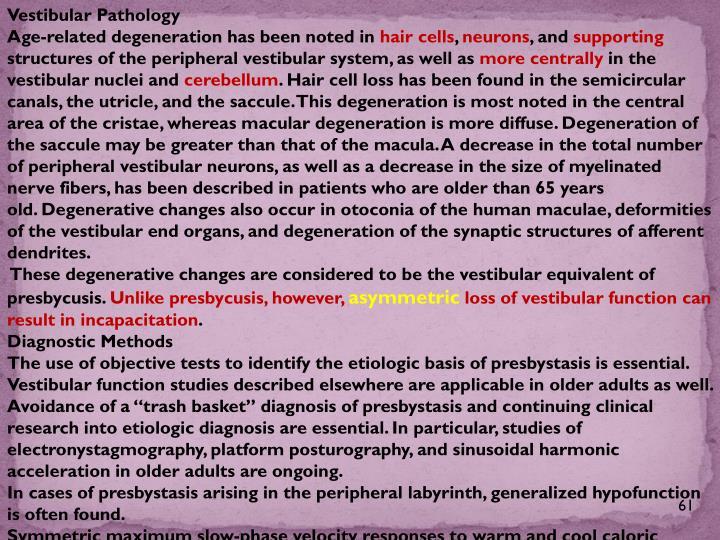 Vestibular Pathology