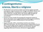 il contingentismo scienza libert e religione