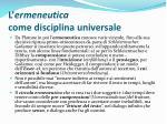 l ermeneutica come disciplina universale