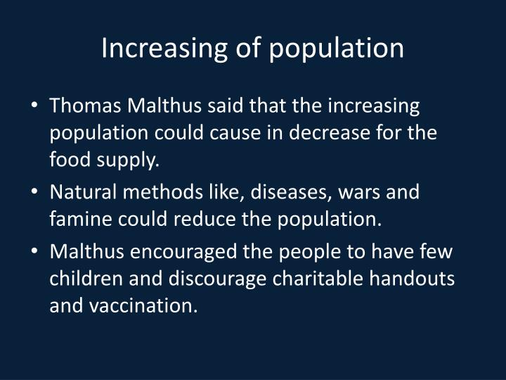 Increasing of population