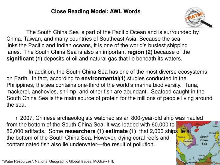 Close Reading Model: AWL Words